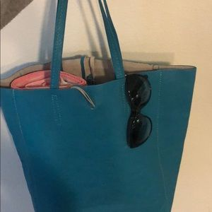 Teal Tote w/ clutch- Real leather, Made in Italy